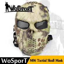 WoSporT Tactical Mask Ghost Camouflage Outdoor M06 Military WarGame Paintball Airsoft Balaclava Skull Protection Full Face Mask