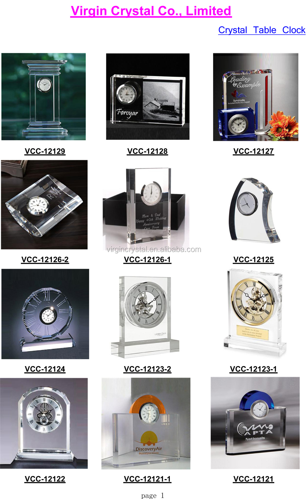 New desigh decorative crystal mechanical clock gift items for office use