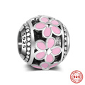 Pink Enamel Flower Drum Shape Real 925 Sterling Silver European Charm Beads DSP048