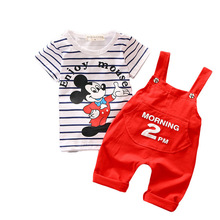 Boys Clothes sets Cartoon Mickey Short Sleeve t shirt + overalls Clothing kids T548