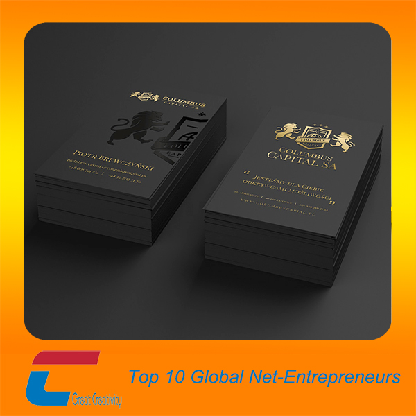 Classic black business cards with spot uv