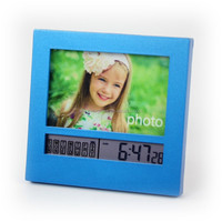 100% ABS plastic photo frame desk alarm clock with snooze feature