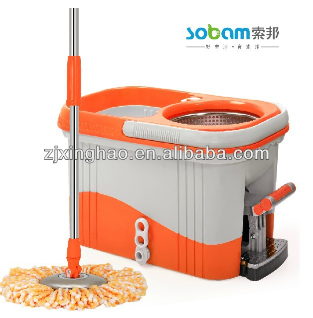 2016 grade one and economical stainless steel basket microfiber spin mop