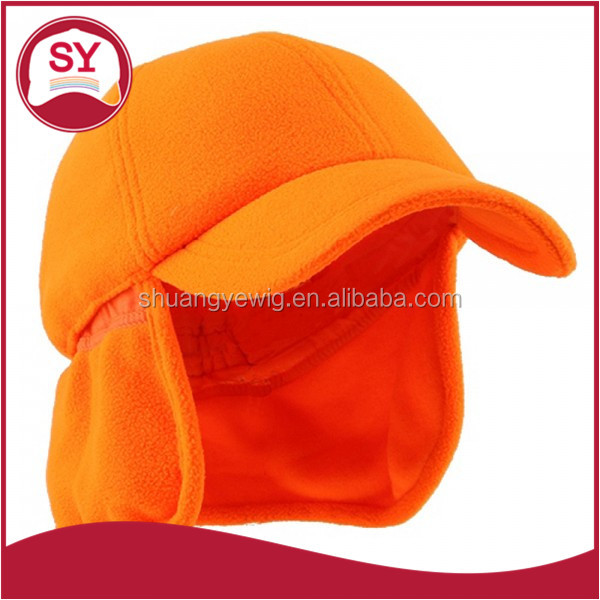Stylish Pre-curved bill fleece baseball cap with earflap hand wash only