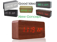 2016 Hot sale fashion Home decor led wood clock portable cube led alarm clock with thermometer/USB