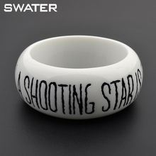 China Supplier Italy Resin Engraved Words Girls Plastic Bangle Bracelet
