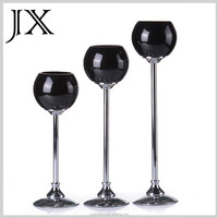 Hand Blown Black Globe Glass Candle Holder Set of 3 Metal Stand