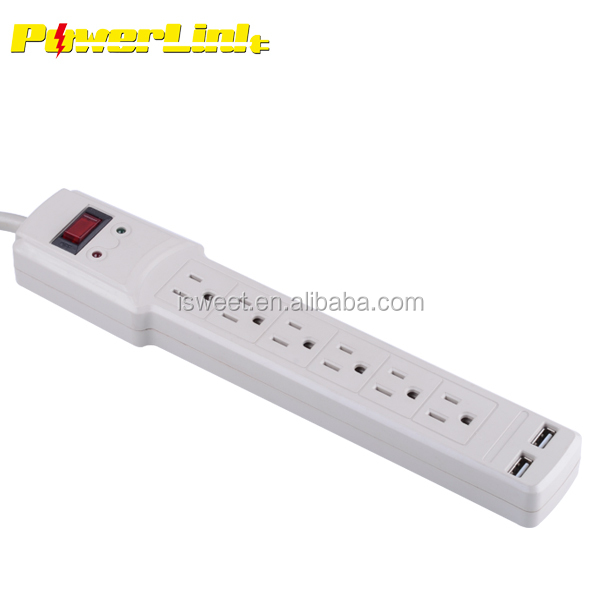 H80225 6 OUTLET POWER STRIP / SURGE PROTECTOR/ UL LISTED/2 USB PORTS