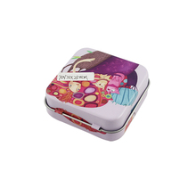 Square Cosmetics Tin Box With Special Hinge Lid