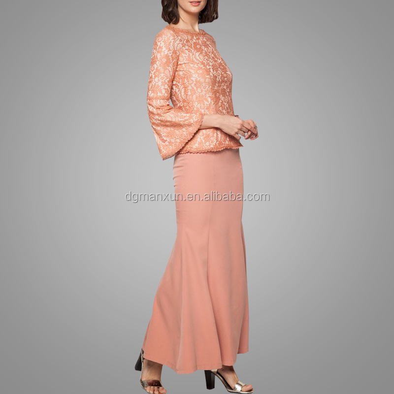 Elegant Malaysia Suit Wholesale Latest Fashion Lace Design Arabic Islamic Baju Kurung Modern Kebaya In Dubai