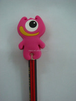 good market fancy cartoon character shape rubber pencil with topper