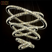 LED Crystal Pendant Lamps Stainless Steel Chandelier Lights with round rings