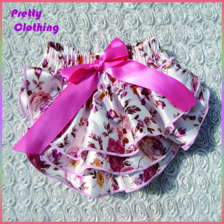Satin print shorts bow diaper cover ruffle panties baby panties bloomer