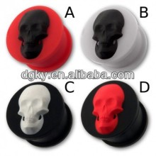 Wholesale skull plug flexible silicone flesh tunnel