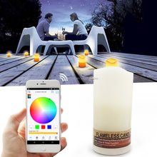 IOS/Android wirelss remote control led wax candle lights lamp with aromatherapy