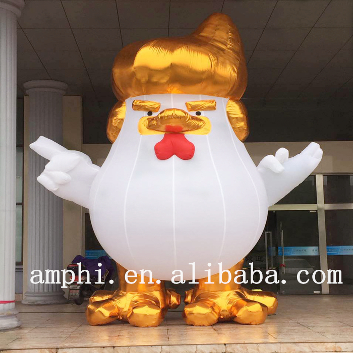 2017 Hot sale inflatable Trump chicken,gaint rooster figure Trump chicken