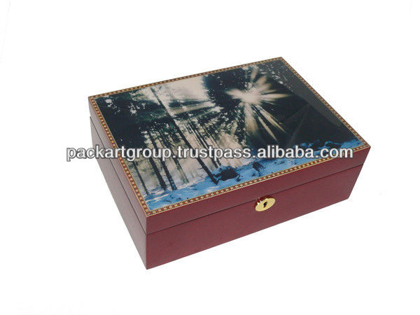 With Lock Antique Wooden Cigar Box