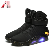 Hgh quality USB rechargeable colors led leather boots for adult