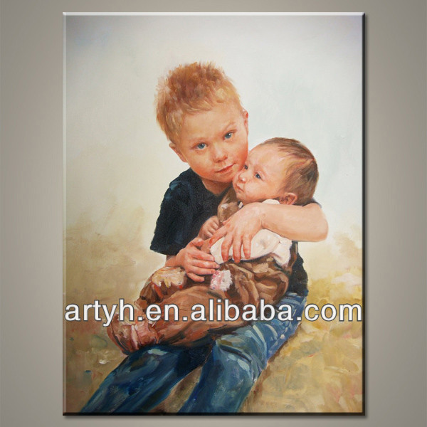 Hand painted modern portrait canvas painting from photo