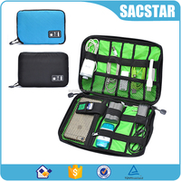 Universal travel cable storage case electronics organizer bag