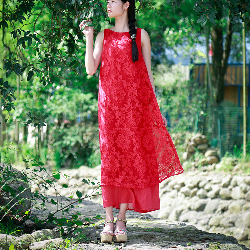 Red Dress 2017 Summer Sleeveless Tank Red Lace Dress