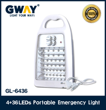 4+36 LED rechargeable portable led emergency light,use transformer charging led