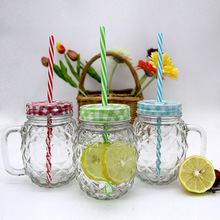 various shape designed glass mason jar with tin lids and straw, wholesale glass mason jar for beverage