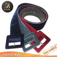 Popular fabric covered big leather belt for coats with belt buckle covered fabric