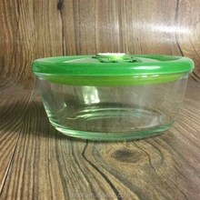 round heat resistant glass bowl for microwave oven with plastic lid