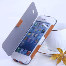 Heat pressing leather flip case for iphone5 tiny lychee leather case for iphone accessories