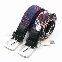 stretch men belts fashion mix color braided elastic belts