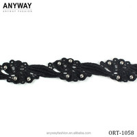 Wholesale black beaded battenburg lace trim