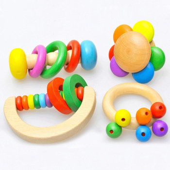 baby gifts 4 Pcs / set Bell Baby Bell Rattles Educational kids wooden musical instruments toy