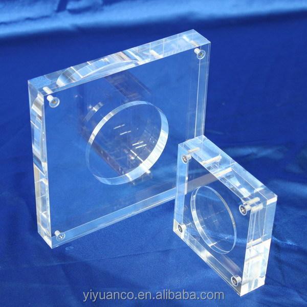 2015 hot sale acrylic coin holder acrylic coin capsule acrylic coin display stand