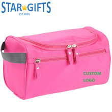 Blue Large Zip Lock 600D Oxford Cosmetic Toiletry Cases Custom Made Printed Logo Travel Cosmetic Bags