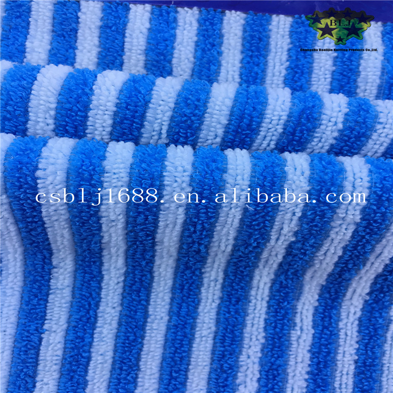 Blue And White Stripe Towel Fabric Microfiber Cleaning Cloth China Supplier