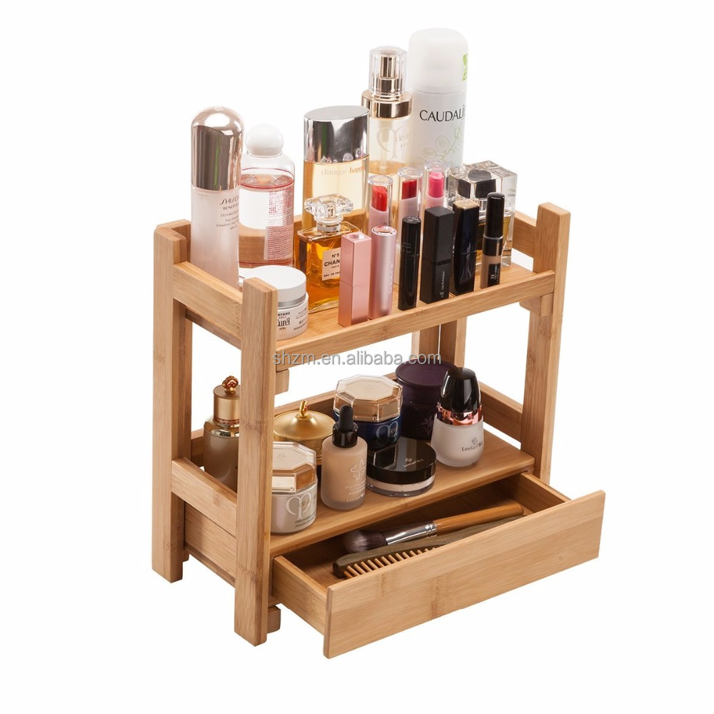 Supply Bamboo Cosmetic Organizer with Drawers MakeUp Display Holders Handmade Bathroom Storage Shelf