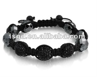 black crystal beads shamballa stretch bracelet