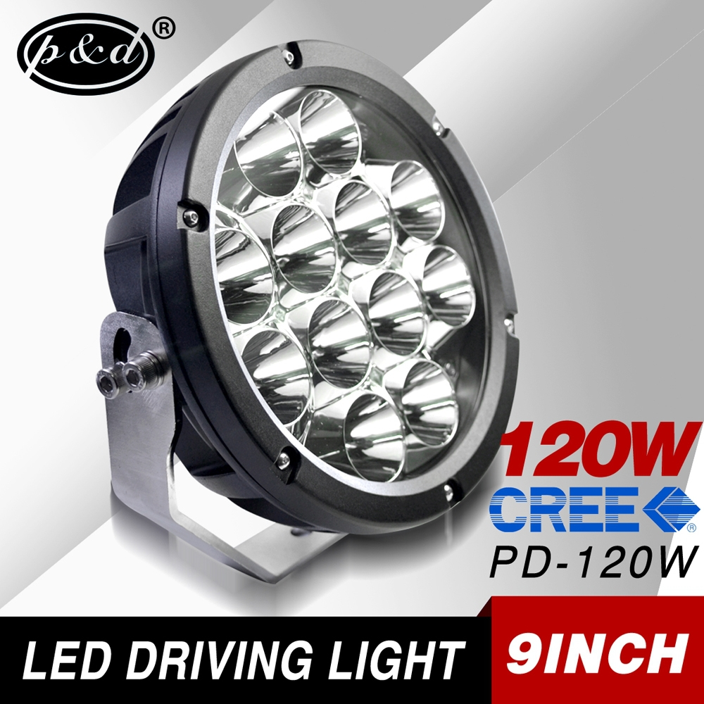 car parts accessories 9 inch round 12v 120w cre e led driving light