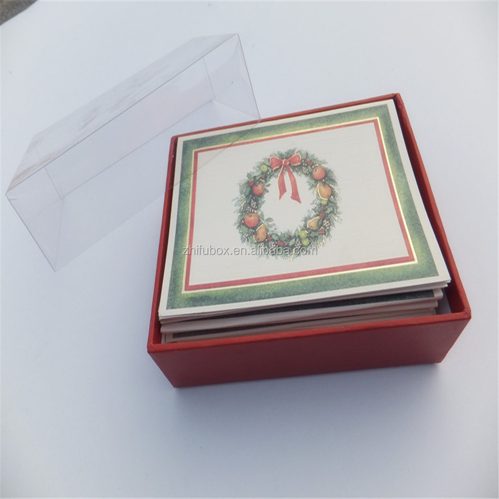 Paper Christmas Cards Box With Clear Lid, Birthday Cards Packaging Box With PVC Lid