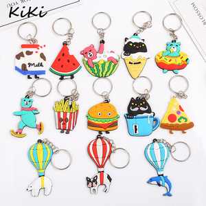 >>>Wholesale Cute Food Fruit Key Rings Cartoon Animal PVC Keychain For Car Key Chains Child Toy Pendant Trinkets