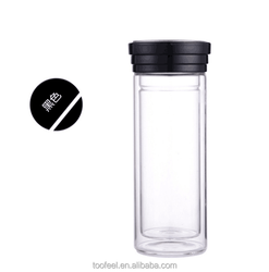 300ML classical design black glass water bottle for tea/customer's logo water bottle
