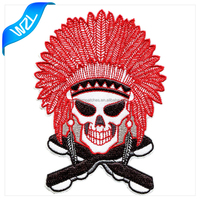 Custom deisgn wholesale cheap polo uniform skull embroidery patches, custom sew-on/ hook and loop/ iron-on backing patch