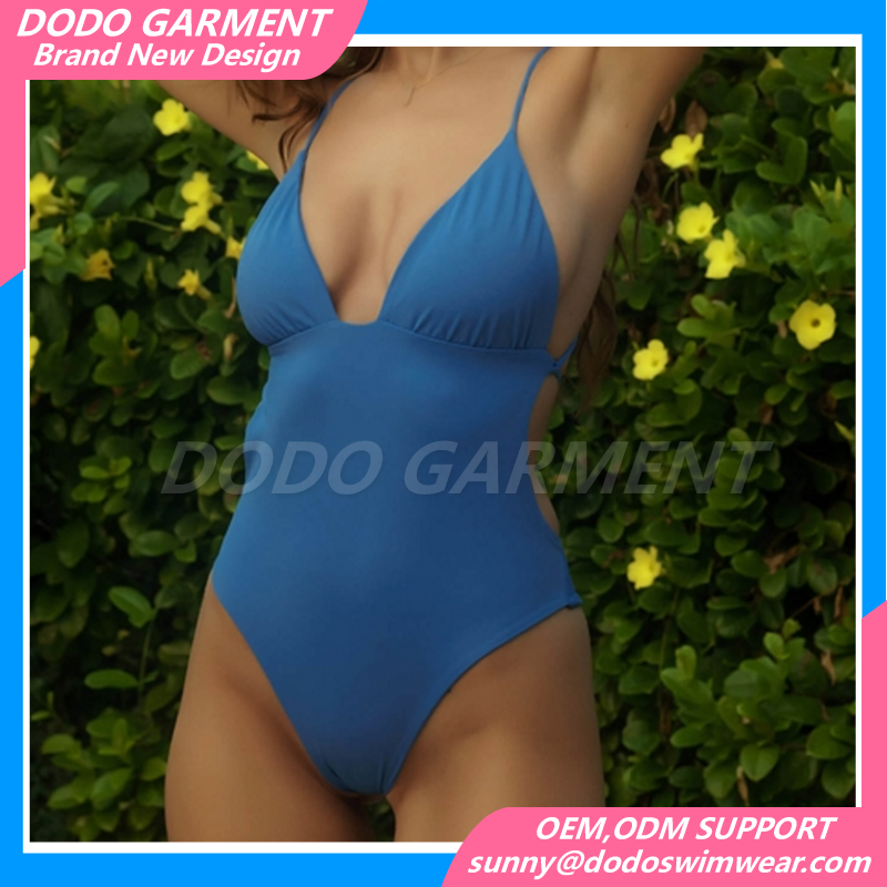 Wholesale One Piece Swimsuit Bathing Suit Woman Bikini Swimwear Beachwear Backless Solid Color Monokini