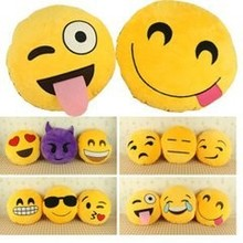 The best quality & Hot sales QQ emoji smiley emoticon round cushion soft toys plush toy