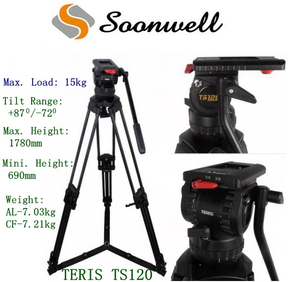 Teris TS120 Aluminum Professional DSLR Video Camera Tripod with Fluid Head for TILTARig RED Scarlet Epic Film Camera