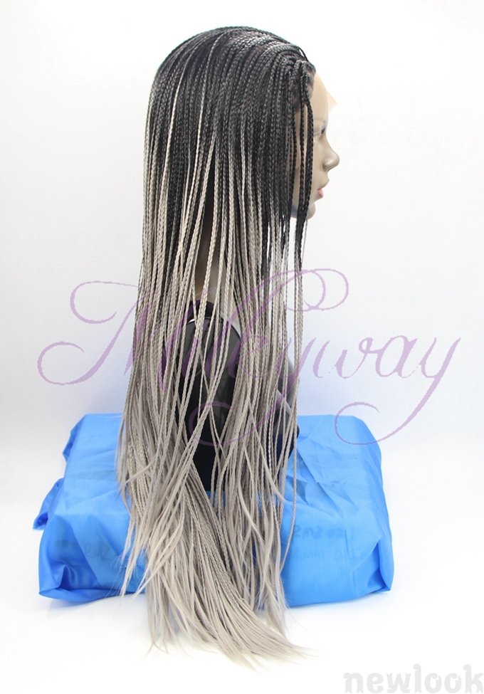 free shipping 1b and gray Braided Lace Front Wigs Long For Black grey Women Hand Braided Synthetic Hair Micro Braided Wigs