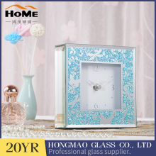 Blue glitter printing mirror glass table clock for home decorative