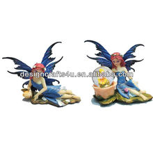 resin elegant blue angel figurine with wing