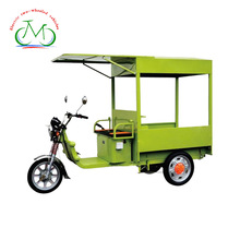 Trolley Electric tricycle vending mobile food cart,700W passenger 3 wheel electric motorcycle with roof